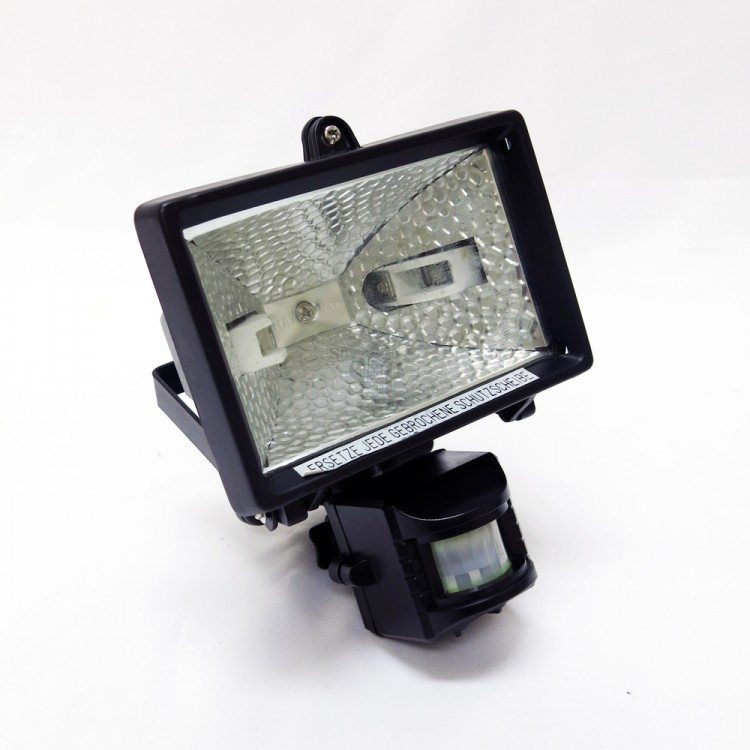 150W 78MM R7s Halogen Flood Light Square (Black) c/w PIR Motion Sensor