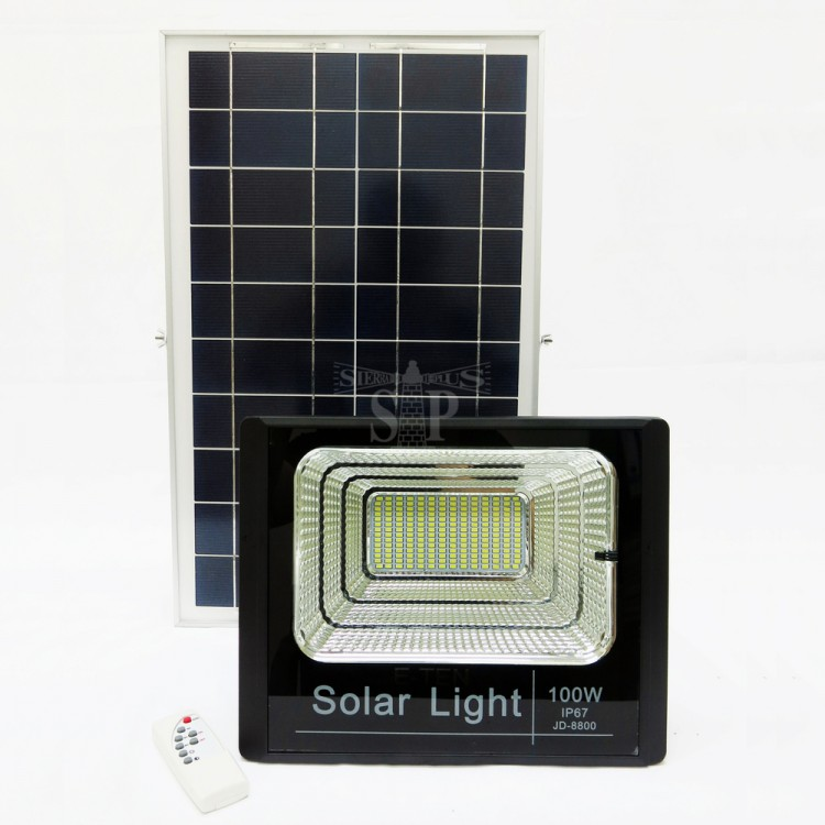 E-TEN JD-8800 100W SMD Solar LED Flood Light (Black) c/w Solar Panel