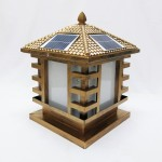 578 12-inch Modern E27 Solar LED Outdoor Gate Lamp Square For Pole / Pillar (Antique Gold)