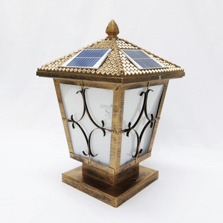 577 10-inch Modern E27 Solar LED Outdoor Gate Lamp Square For Pole / Pillar (Antique Gold)