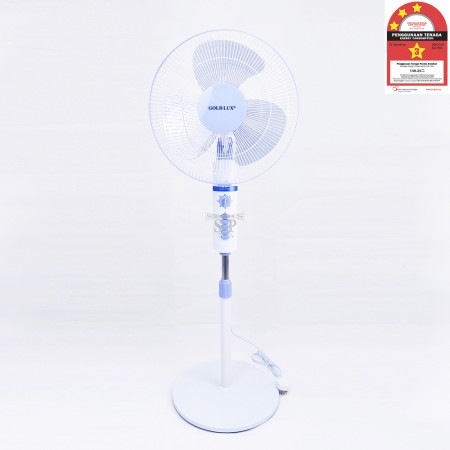 GOLD LUX GLS1808 16-inch PVC Stand Fan 4 Speeds With Timer [SIRIM Approval] (White)