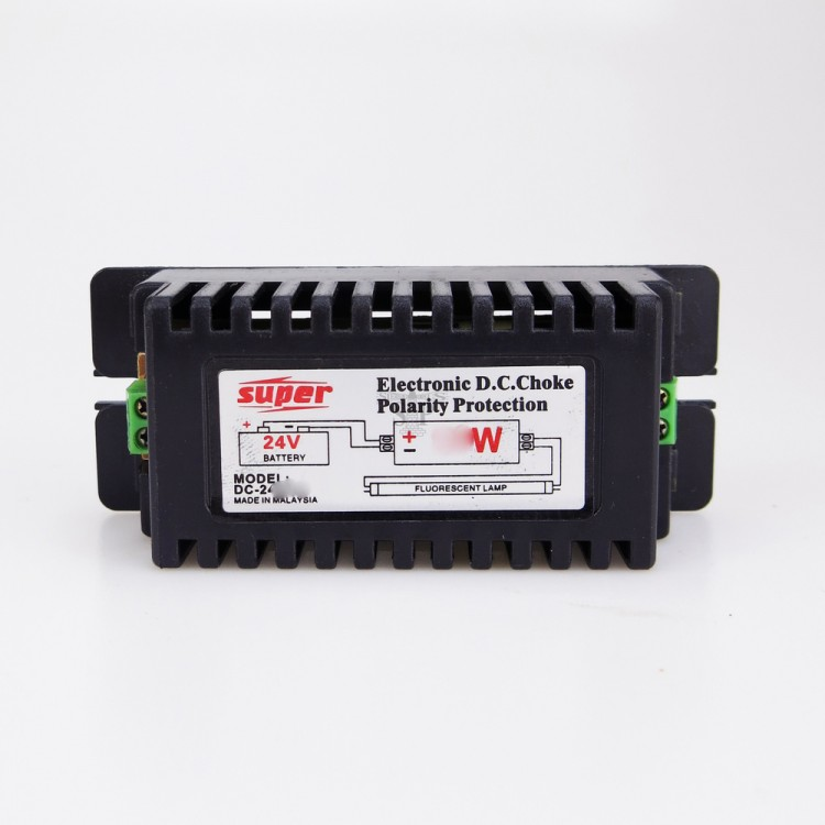 SUPER DC-2420S DC24V 20W Electronic DC Choke Polarity Protection (Black) For Fluorescent Tube