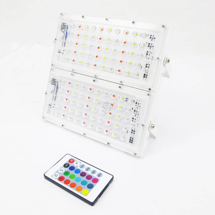 E-TEN LV77 100W (2 X 50W) SMD LED Flood Light c/w Remote Controller (White) - RGB