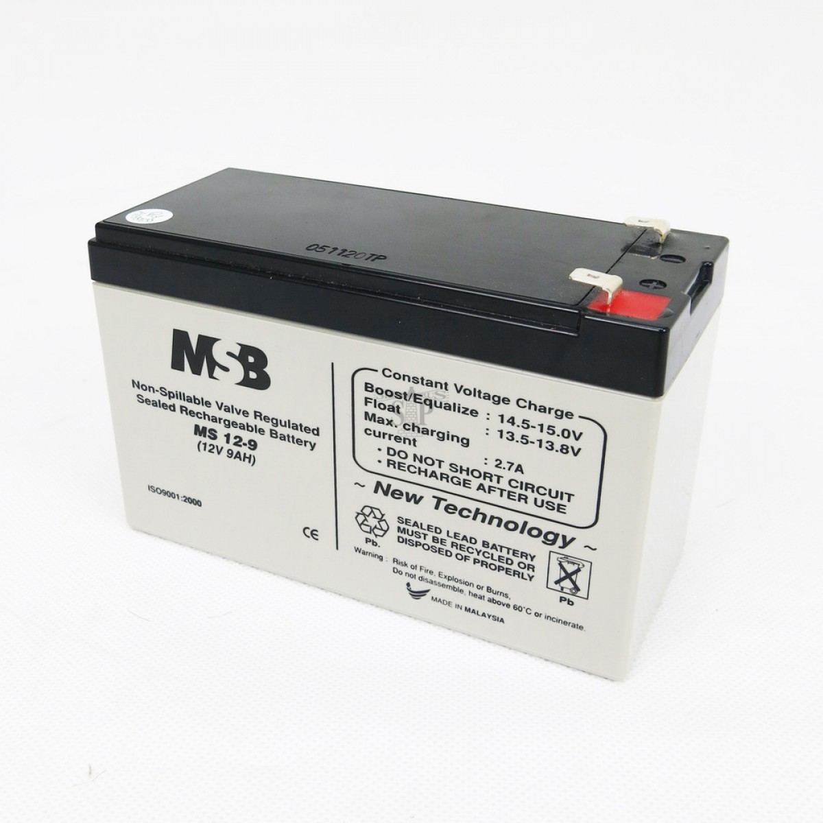 MSB MS12-9 12V 9AH Non-Spillable Valve Regulated Sealed Rechargeable Lead Battery