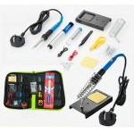 [15-in-1 Set] Portable 240V 60W Temperature Adjustable Electric Soldering Iron Kit Set (Black)