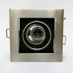 301/1L 4-inch E27 Down Light Square Bracket c/w Reflector [Recessed Type] (Sand Silver)