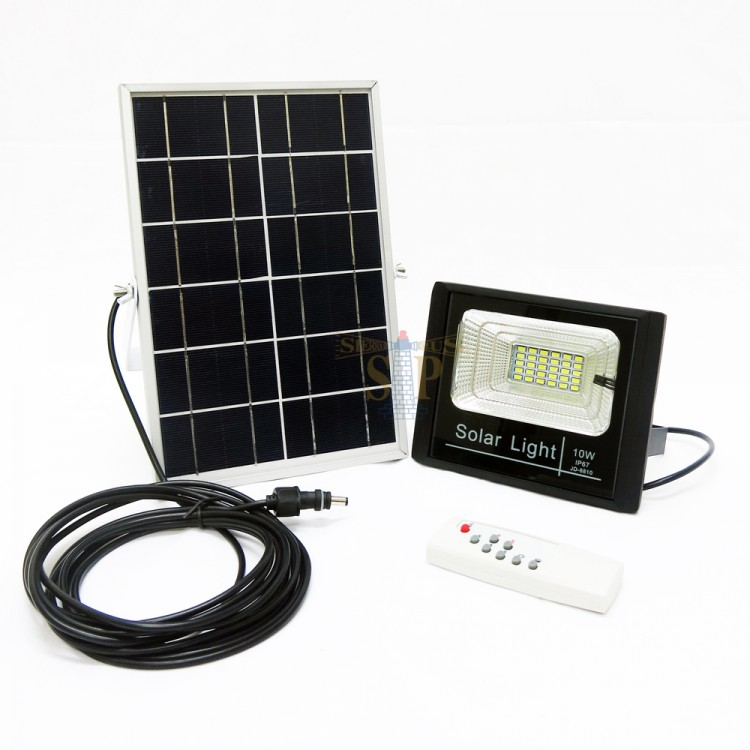 E-TEN JD-8810 10W SMD Solar LED Flood Light (Black) c/w Solar Panel